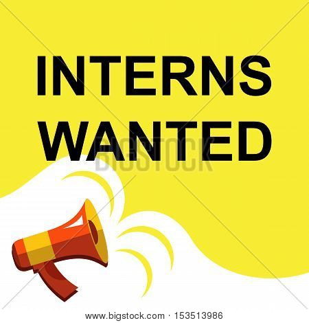 Megaphone With Interns Wanted Announcement. Flat Style Illustration