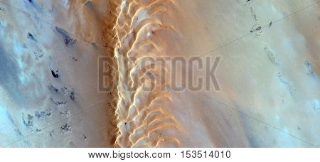 failure sand, Abstract photography of landscapes of deserts of Africa from the air, fantasy forms of sand in the desert