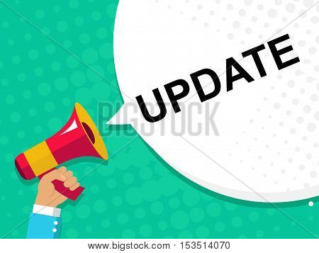 Hand Holding Megaphone With Update Announcement. Flat Style Illustration