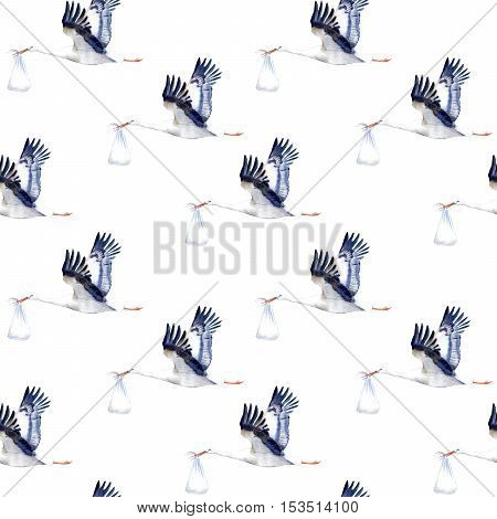 Seamless pattern.Stork with baby.Watercolor hand drawn illustration.White background.