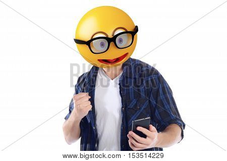 Emoji head man with smartphone celebration victory. Emoji concept. Isolated white background.
