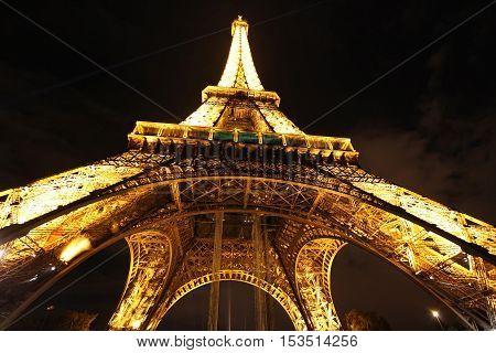 PARIS - OCTOBER 31. Eiffel Tower illuminating on night of October 31, 2012 in Paris, France.