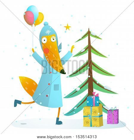 Seasonal animal cute childish greeting card cartoon with fur tree and cute fox. Vector illustration.