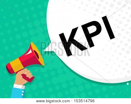 Hand Holding Megaphone With Kpi - Key Performance Indicator Announcement. Flat Style Illustration