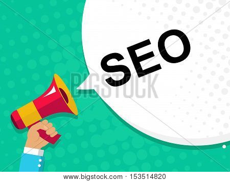 Hand Holding Megaphone With Seo Announcement. Flat Style Illustration