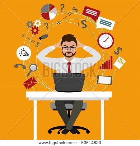 Overworked and tired businessman or office worker sitting at his desk Business stress. Flat style modern vector illustration.