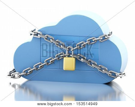3d renderer image. Cloud with file storage and padlock. Cloud storage and security concept. Isolated white background.