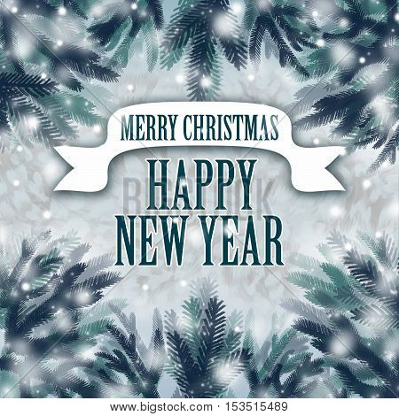 Christmas tree in the snow on a background of a congratulatory text.