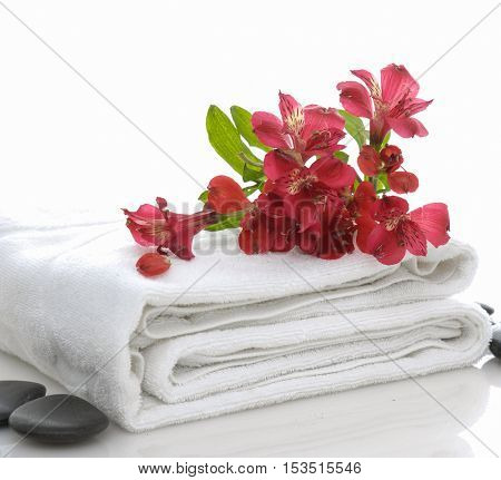 Red branch orchid on roller towel with stones