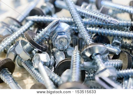 Many screws arranged as background. Metal fasteners, scattered in plastic cells.