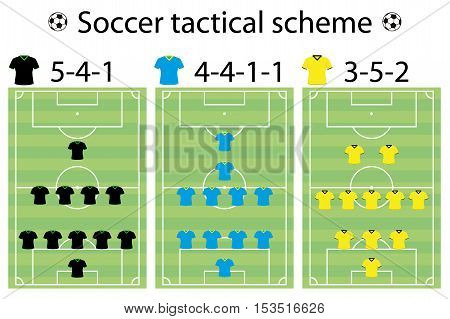 Soccer strategy formation and position player sport vector illustration