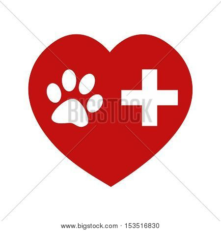 Veterinary symbol of aid and love for animals