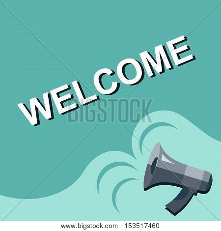 Megaphone With Welcome Announcement. Flat Style Illustration