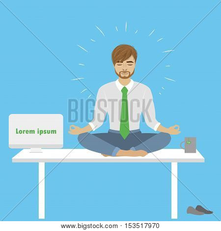 Businessman in lotus pose sitting on the table in office vector illustration