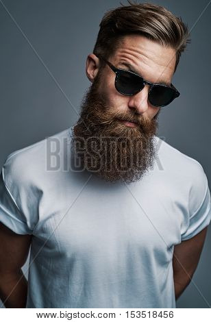 Single long bearded man in sunglasses with raised eyebrow and arms behind his back over gray background