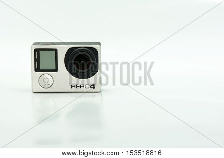 PHUKET THAILAND - OCT 24: GoPro Hero 4 Black. It is a camera It is lightweight personal camera Use for shooting action or video photography on October 24 2016 in Phuket Thailand