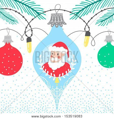 Christmas winter border card background with colorful bubbles featuring new year character Santa Claus
