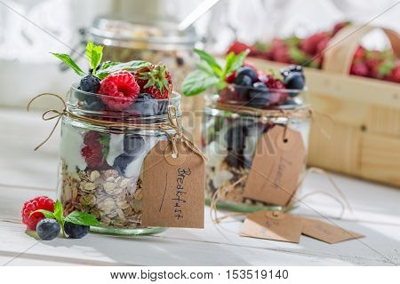 Tasty Breakfast With Yogurt And Berry Fruits