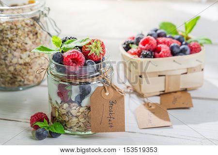 Healthy Muesli With Berry Fruits And Yogurt