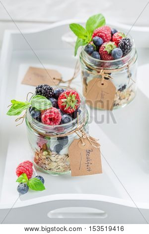 Healthy Granola With Berry Fruits And Yogurt