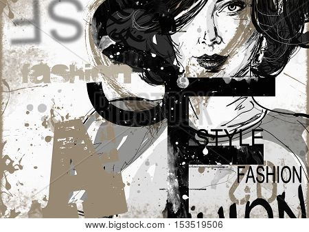 Modern teenage girl on grunge background. Grunge style. Modern generation.