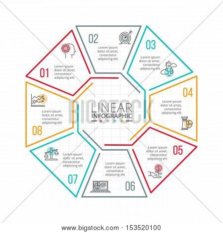 Thin line flat element for infographic. Template for diagram, graph, presentation and chart. Business concept with 8 options, parts, steps or processes. Data visualization.
