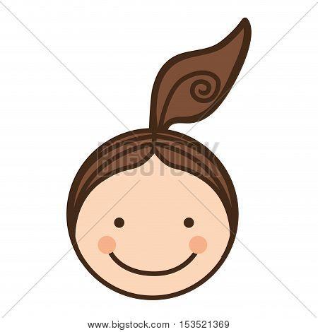 girl happy child face icon image vector illustration design