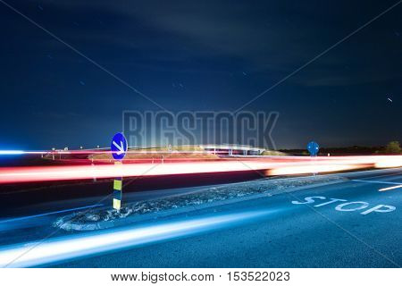 Highway overpass bridge at night