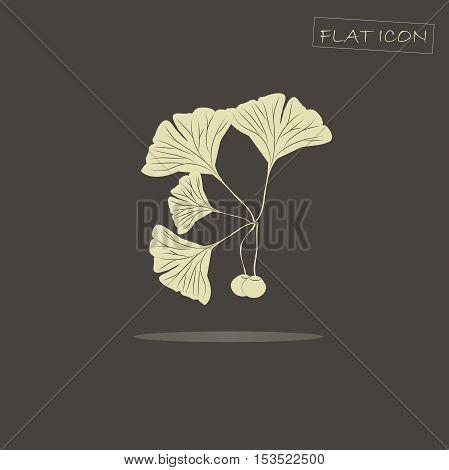 Light ginkgo branch on black, vector illustration