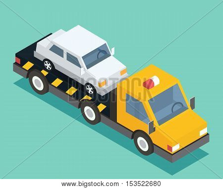 Evacuation isometric car, road assistance service help. Evacuator tow track. Flat design vector illustration