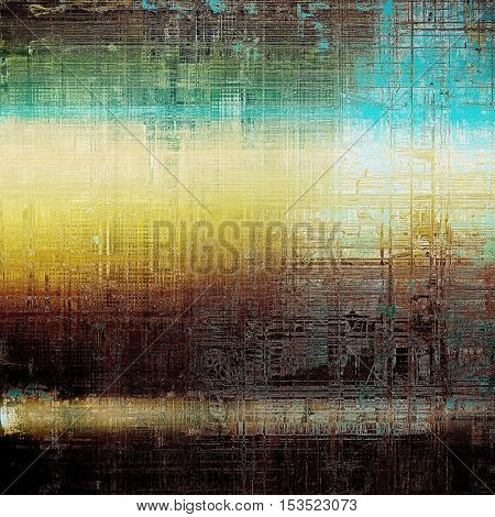 Colorful grunge texture or background with vintage style elements and different color patterns: yellow (beige); brown; green; blue; cyan; white