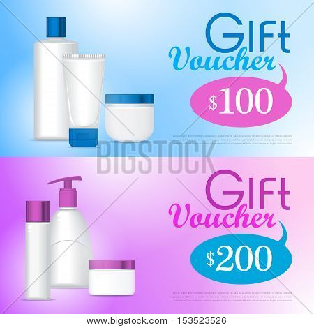 Template gift voucher on cosmetics. Lotion, creams, soap, tonic. Plastic tube for cosmetics. Product for body, face and skin care, beauty, health, freshness, youth hygiene Realistic illustration