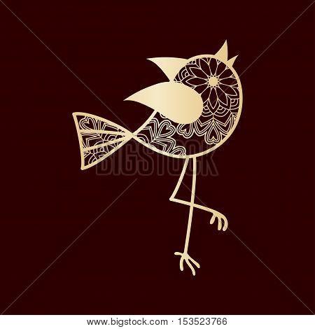 Sweet openwork bird. Laser Cutting template for art and interior deco.