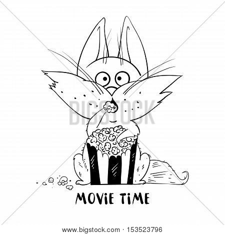 Cute cat isolated on white background. Funny cat eat popcorn and watching a movie. The cat in cartoon style. Vector illustration.