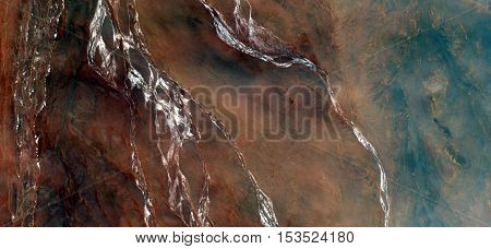 waterfall mirage in the desert, Abstract photography of landscapes of deserts of Africa from the air