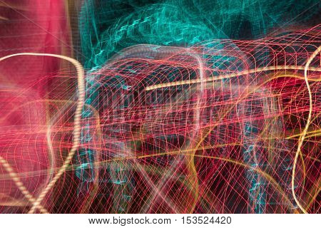 Neon blurry at motion Abstract multicolored blurred lights background swirl trail effect . slow shutter speed effect .