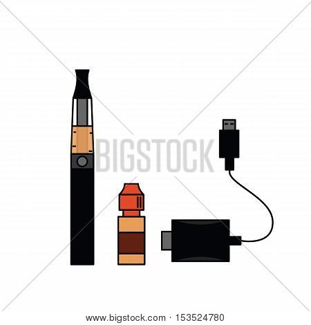 Electronic cigarette smoking liquid and charger. Vector illustration.