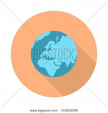 Pictograph globe icon isolated on white. Strategy, business marketing symbol. Earth. Editable items in flat style for web design. Part of series of accessories for work in office. Vector illustration