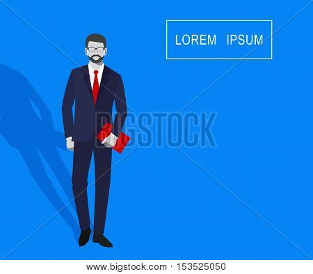Vector illustration of faceless businessman with a folder in his hand isolated on a blue background