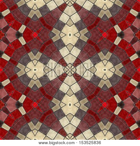 New seamless texture of abstract fabric. Abstract seamless patchwork pattern. Arabic tile texture with geometric ornaments. Texture oriental carpets. Mosaic from glass shards. Oriental pattern.
