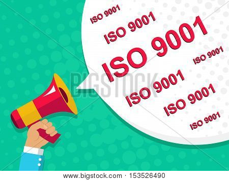 Megaphone With Iso 9001 Announcement. Flat Style Illustration