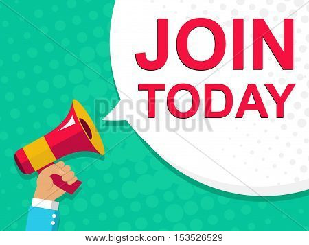 Megaphone With Join Today Announcement. Flat Style Illustration