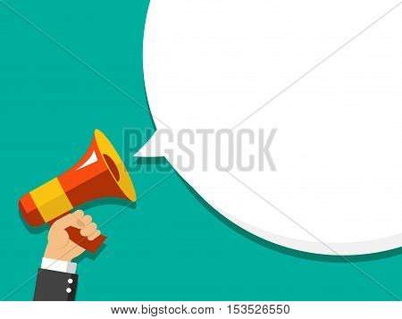 Hand Holding Megaphone With Bubble Speech