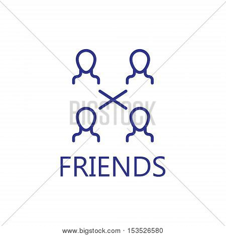 Community icon. Friends line icon. High quality outline pictigram for design website or mobile app. Vector thin line illustration of friends, community.