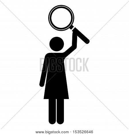 magnifying glass and woman pictogram icon image vector illustration design