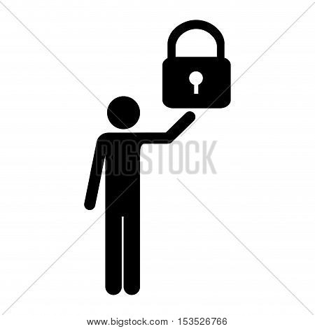safety lock and man pictogram icon image vector illustration design