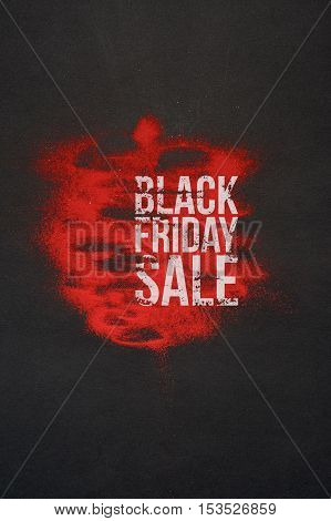 Black Friday Sale Banner with Big Text on abstract dark and red Background