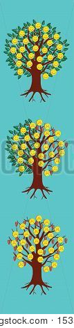 Emoticon emoji set. Trees with emoticons.Trendy Bookmark Stickers Character Design illustration