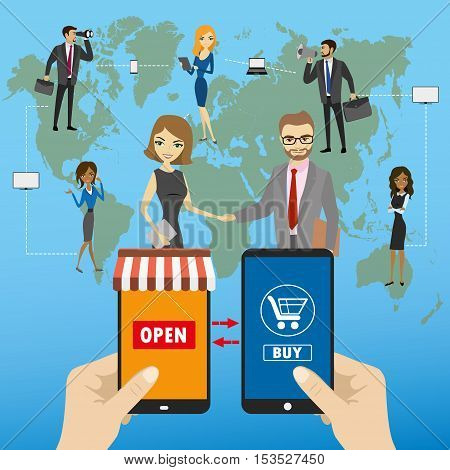 One hand holds a smartphone shop the other hand holding a smart phone with icon shopping Global e-commerce on smart gadgets flat design