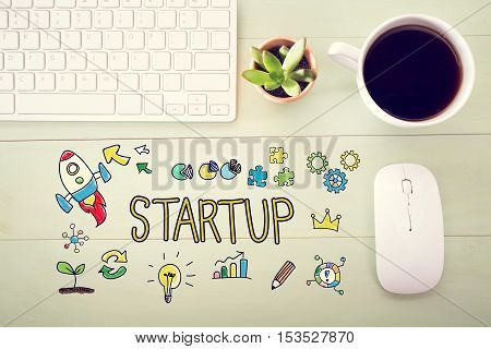 Startup Concept With Workstation
